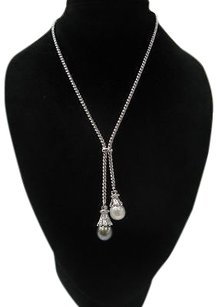 Other Fine 18kt Double Drop South Sea Pearl Diamond Necklace