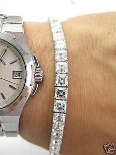 Fine 19.15ct Asscher Cut Diamond Tennis Bracelet 18kt
