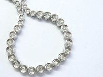 Fine Bezel Set Round Cut Diamond White Gold Riviera Necklace 3.00ct 16
