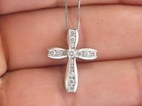 Other Fine Diamond Cross Pendant Necklace White Gold 18 .50ct