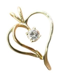 Other Fine Diamond Heart Yellow Gold Jewelry Pendant 0.25ct