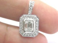Fine Emerald Cut Round Cut Diamond White Gold Pendant 1.02ct .32ct I-vvs2