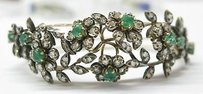 Fine Emerald Diamond 14kt Ss Bangle Bracelet 3.86ct