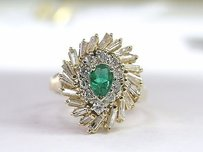 Fine Gem Emerald Diamond Anniversary Ring Yg .1.25ct