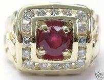 Other Fine Mans Gem Ruby Diamond Nuggest Ring 14kt 1.90ct