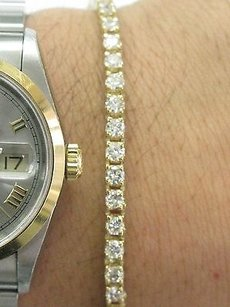 Other Fine Round Cut Diamond Tennis Bracelet 4-prong Yellow Gold 4.09ct 7