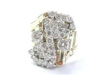 Other Fine Round Diamond Cluster Yellow Gold Wide Jewelry Ring 14kt 2.50ct