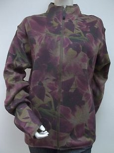 Other H J Fleece Sublimation Floral Dye Ribbed Zip Hoodie Multi-Color Jacket