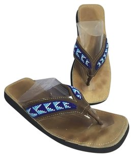 Other Womens Richie Royal Light Beaded Flip Flops Or Brown with Blues Sandals