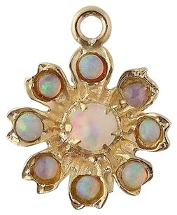 Floral Opal Pendant - 14k Yellow Gold October Birthstone Gift Genuine .39ctw