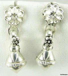 Flower Earrings Pierced Sterling Silver Dangle Fashion