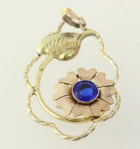 Flower Pendant - Sterling Silver Simulated Blue Sapphire Womens Flower Estate