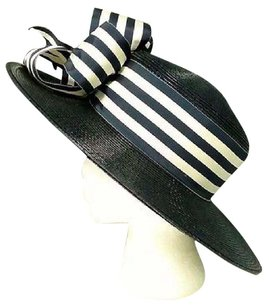 Other Frank Olive Vintage Navy Blue Coated Straw Striped Band Bow Accented Hat Sr