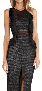 Other Fringe Date Night Mesh Bandeau Tweed Dress