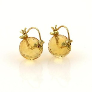 Gabriel Sanchez 11mm Faceted Citrine Balls Leaf Design Hook Drop Earrings