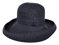 Gabriela Ligenza Navy Blue Straw Wide Brim Hat