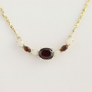 Garnet Opal Necklace 12 - 14k Yellow Gold January October 3.24ctw