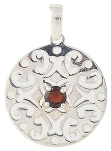 Other Garnet Pendant - Sterling Silver January Birthstone Scroll Design .30ct
