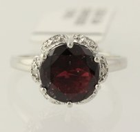 Other Garnet Ring - Sterling Silver Diamond Accents 7.25 Round Birthstone