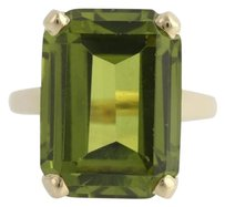 Garnetglass Triplet Cocktail Ring - 14l Yellow Gold Green Solitaire