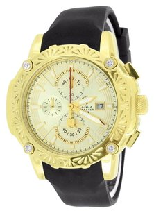 Genuine Diamond Watches Mens On Sale Gold Finish Aqua Master Rubber Black Band