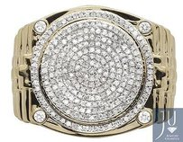 Other Genuine Diamonds 10k Yellow Gold Mens Round Cluster Step Shank Pinky Ring 1.0ct