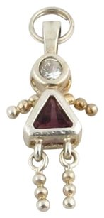 Girl Pendant - February Simulated Amethyst Cz Birthstone Fashion Charm