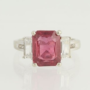 Glass Filled Pink Sapphire White Topaz Diamond Ring - 14k White Gold 4.72ctw