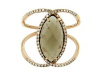 Glk 14k Rose Gold 0.35ct Diamond 3.00ct Smokey Topaz Ring