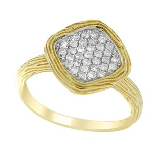 Other Glk 14k Yellow Gold 0.29ct Pav Diamond Ribbed Ring