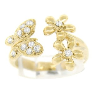 Other Glk 14k Yellow Gold 0.35ct Diamond Butterfly And Flower Ring