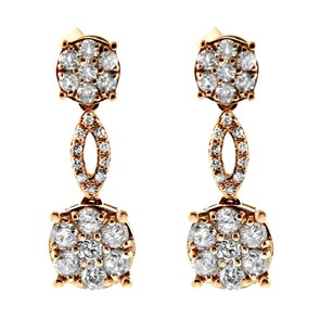 Other Glk 14k Yellow Gold 082ct Round Diamond Dangle Earrings
