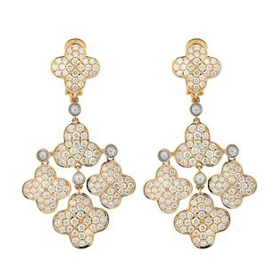 Other Glk 18k Rose Gold 4.35ct Diamond Flower Petal Dangle Earrings