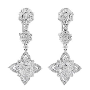 Other Glk 18k White Gold 3.75ct Diamond Drop Earrings