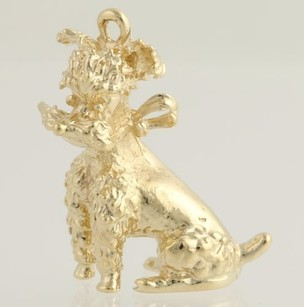 Gold Dog Charm - 14k Yellow Gold Three-dimensional Canine Pendant Fine Gift