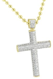 Other Gold Finish Jesus Cross Pendant Cylinder Design Simulated Diamonds Necklace