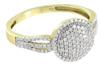 Gold Finish Womens Ring Sterling Silver Genuine Diamonds Bridal Engagement