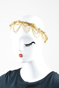 Gold Tone Leaf Flower Draped Chain Halo Headpiece Hair Accessory