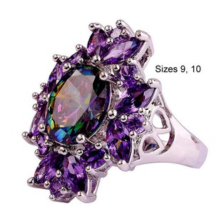 Other Gorgeous Mystic Rainbow CZ in Silver Plated Band