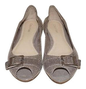 Calvin Klein Grey Open Toe Gray Flats