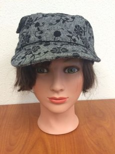 Gray Hat Womens With Black Flowers Polywool Blend
