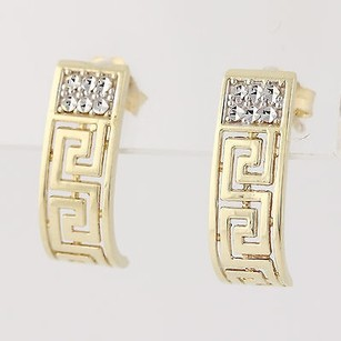 Greek Key J-hook Earrings - 10k Yellow White Gold Polished Fine Estate Pierced