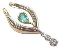Other Green Colombian Emerald Diamond 2-tone Drop Pendant 14kt 2.05ct