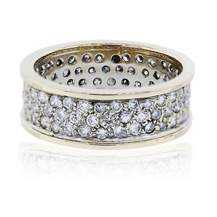 14k Yellow Gold Pave Diamond Gents Ring