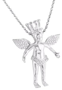 Guardian Angel Pendant Necklace White Gold Finish Simulated Diamonds
