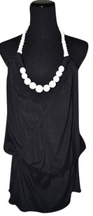 Other Who Cares Wrap Blouse With White Beads Black Halter Top