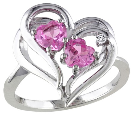 Other Sterling Silver Pink Sapphire Diamond Double Interlock Heart Love Ring