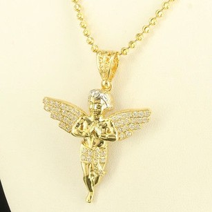 Holy Celestial Angel Bling King Icy Lab Diamond 5 10k Gold Silver Pendant Chain