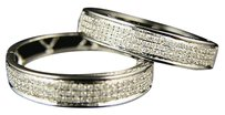 Ladies 10k White Gold Diamond Hoops Earrings .85 Ct
