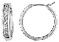 Other Sterling Silver 13 Ct Diamond Tw Hoop Earrings I3